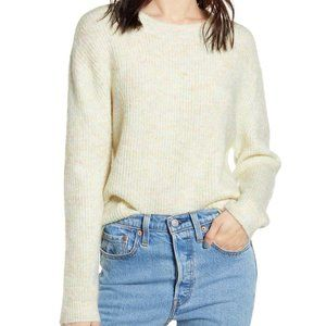 bp pastel marl ivory pullover crewneck sweater L